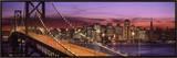Bay Bridge Illuminated at Night, San Francisco, California, USA Framed Canvas Print by  Panoramic Images