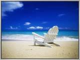 Beach Chair on Empty Beach Impressão em tela emoldurada por Randy Faris