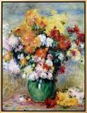Bouquet of Chrysanthemums, circa 1884 額入りキャンバスプリント : ピエール=オーギュスト・ルノワール