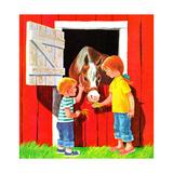 Feeding the Horse - Jack & Jill Giclee Print by Beth Krush