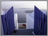 View Toward Caldera, Imerovigli, Santorini, Greece Framed Canvas Print by Connie Ricca