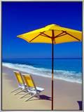 Yellow Chairs and Umbrella on Pristine Beach, Caribbean Impressão em tela emoldurada por Greg Johnston