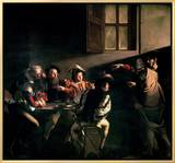 The Calling of St. Matthew, circa 1598-1601 Framed Canvas Print by  Caravaggio