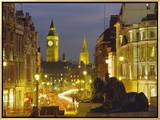 Evening View from Trafalgar Square Down Whitehall with Big Ben in the Background, London, England Framed Canvas Print by Roy Rainford