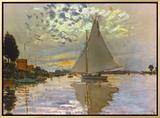 Monet: Sailboat 額入りキャンバスプリント : クロード・モネ