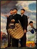 Baixa da 6ª., Three Umpires, 23 de abril de 1949 Impressão em tela emoldurada por Norman Rockwell