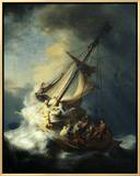 The Storm on the Sea of Galilee Framed Canvas Print by  Rembrandt van Rijn