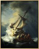 The Storm on the Sea of Galilee 額入りキャンバスプリント : ハルメンス・ファン・レイン・レンブラント