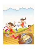 The Race - Jack & Jill Giclee Print by Merril Rainey