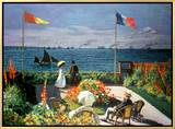 The Terrace at Sainte-Adresse, 1867 Framed Canvas Print by Claude Monet