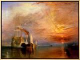 O Fighting Temeraire preso a seu último ancoradouro para ser destruído, antes de 1839 Impressão em tela emoldurada por J. M. W. Turner