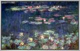Waterlilies: Green Reflections, 1914-18 (Right Section) Impressão em tela emoldurada por Claude Monet