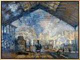 Monet: Gare St-Lazare, 1877 額入りキャンバスプリント : クロード・モネ