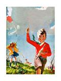 Flying Kites - Child Life Giclee Print by Robert O. Skemp