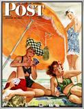 Jogo de cartas na praia, Card Game at the Beach, capa do Saturday Evening Post, 28 de agosto de 1943 Impressão em tela emoldurada por Alex Ross
