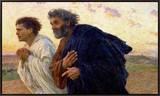 Os discípulos Pedro e João correndo para sepultura na manhã da Ressurreição, cerca de 1898 Impressão em tela emoldurada por Eugene Burnand
