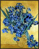 Vase of Irises Against a Yellow Background, c.1890 Framed Canvas Print by Vincent van Gogh