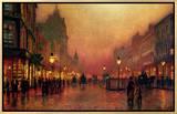 A Street at Night 額入りキャンバスプリント : ジョン・アトキンス・グリムショー
