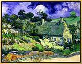 Thatched Cottages at Cordeville, Auvers-Sur-Oise, c.1890 Framed Canvas Print by Vincent van Gogh