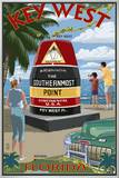 Key West, Florida - Southernmost Point Framed Canvas Print by  Lantern Press