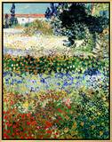 Garden in Bloom, Arles, c.1888 Impressão em tela emoldurada por Vincent van Gogh