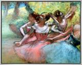 Four Ballerinas on the Stage Framed Canvas Print by Edgar Degas