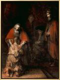 A volta do filho pródigo, cerca de 1668-69 Impressão em tela emoldurada por  Rembrandt van Rijn