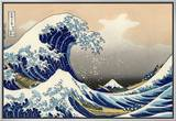 Sob a onda de Kanagawa Impressão em tela emoldurada por Katsushika Hokusai
