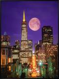 Moon Over Transamerica Building, San Francisco, CA Framed Canvas Print by Terry Why