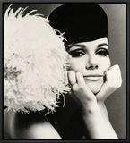 Nicole de la Marge in a Peter Shepherd Velvet Cap, 1965 Framed Canvas Print by John French