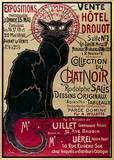Pôster do cartaz anunciando Exibição da coleção do cabaré Du Chat Noir no Hotel Drouot, em Paris, em francês Impressão em tela emoldurada por Théophile Alexandre Steinlen