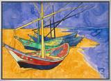 Fishing Boats on the Beach at Saintes-Maries-De-La-Mer Impressão em tela emoldurada por Vincent van Gogh