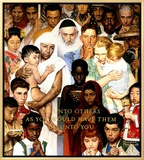 """Golden Rule"" (Do unto others), April 1,1961 Framed Canvas Print by Norman Rockwell"