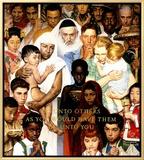 Regra de ouro, Faça aos outros, em inglês, 1º. de abril de 1961 Impressão em tela emoldurada por Norman Rockwell