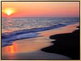Sunset Beach Framed Canvas Print