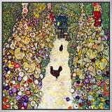 Gardenpath with Hens, 1916 Impressão em tela emoldurada por Gustav Klimt