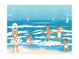 Playing in the Surf - Jack & Jill Giclee Print by Ann Eshner