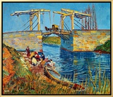 The Drawbridge at Arles with a Group of Washerwomen, c.1888 Framed Canvas Print by Vincent van Gogh