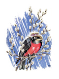 Wet Robin - Child Life Giclee Print by Keith Ward