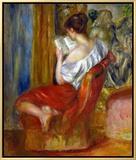 Reading Woman, circa 1900 Impressão em tela emoldurada por Pierre-Auguste Renoir