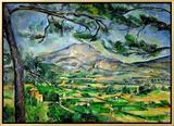 Monte Sainte Victoire com grande palmeira, cerca de 1887 Impressão em tela emoldurada por Paul Cézanne
