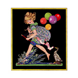 Splashing in Puddle - Child Life Giclee Print by Hazel Frazee