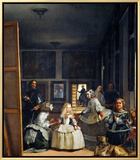 Las Meninas (With Velazquez' Self-Portrait) or the Family of Philip IV, 1656 額入りキャンバスプリント : ディエゴ・ベラスケス