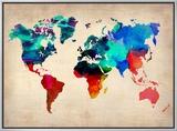 World Watercolor Map 1 額入りキャンバスプリント : NaxArt(ナックスアート)