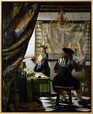 画家のアトリエ(絵画芸術) 1665-1666年 額入りキャンバスプリント : ヨハネス・フェルメール