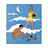 Blue Beach - Child Life Giclee Print by Harold Carroll