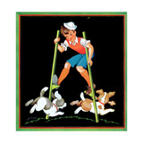 Boy on Stilts - Child Life Giclee Print by Clarence Biers