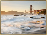 California, San Francisco, Golden Gate Bridge from Marshall Beach, USA Framed Canvas Print by Alan Copson