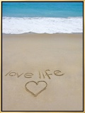 Beach on Fire Island, Ny with the Words 'Love Life' Written in the Sand Framed Canvas Print by Marie Hickman