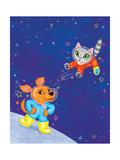 Mutt on the Moon - Jack & Jill Giclee Print by Elisa Chavarri